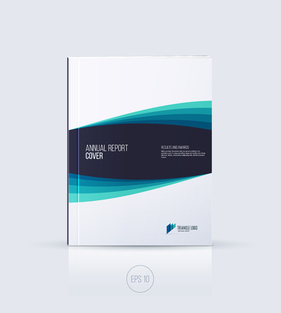 ?over design, brochure template layout, annual report, magazine, flyer or booklet in A4 with blue emerald dynamic diagonal geometric shapes on white background. Vector Illustration.