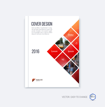 Abstract cover design, business brochure template layout, report, magazine or booklet in A4 with red and pink square geometric shapes on polygonal background. Vector Illustration.