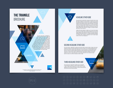 layout: Brochure template layout, cover design annual report, magazine, flyer or booklet in A4 with blue dynamic triangular geometric shapes on white background. Vector Illustration.