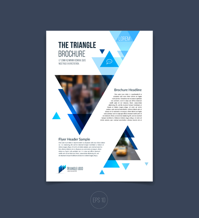 Brochure template layout, cover design annual report, magazine, flyer or booklet in A4 with blue dynamic triangular geometric shapes on white background. Vector Illustration. Stock Vector - 54505011