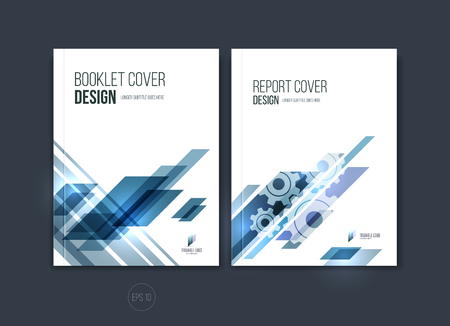 Abstract cover design, zakelijke brochure sjabloon lay-out, rapport, tijdschrift of een boekje in A4 met blauwe dynamische diagonaal rechthoekige geometrische vormen. Vector illustratie. Stock Illustratie