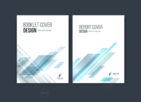Abstract cover design, business brochure template layout, report, magazine or booklet in A4 with blue dynamic diagonal rectangular geometric shapes. Vector illustration.