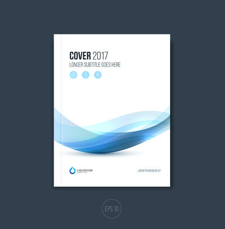 Abstract cover design, business brochure template layout, report, magazine or booklet in A4 with blue gray dynamic blurred waves, soft lines and shapes. Vector. Vettoriali