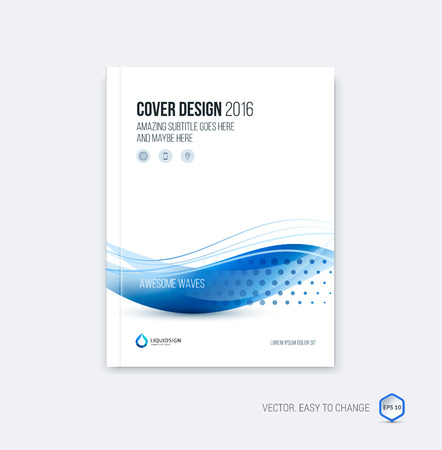 Abstract cover design, business brochure template layout, report, magazine or booklet in A4 with blue dynamic blurred waves, soft lines and shapes. Vector.