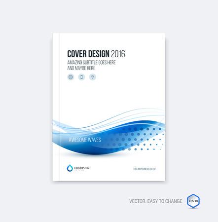 Streszczenie projektu okładki, biznes broszura układ szablonu, sprawozdanie, czasopisma lub broszury w formacie A4 z niebieskimi falami dynamicznych niewyraźne, miękkie linie i kształty. Wektor. Ilustracje wektorowe