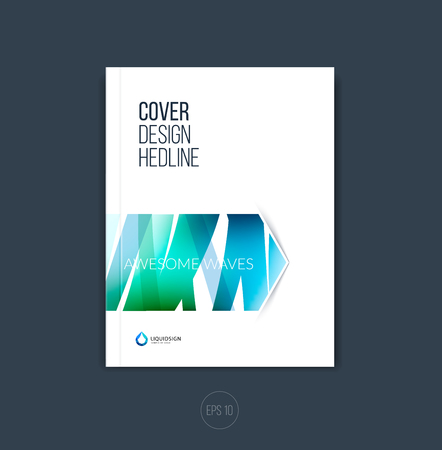 minimalistic: Abstract cover design, business brochure template layout, report, magazine or booklet in A4 with scetch blue hand drawn arrow. Vector. Illustration