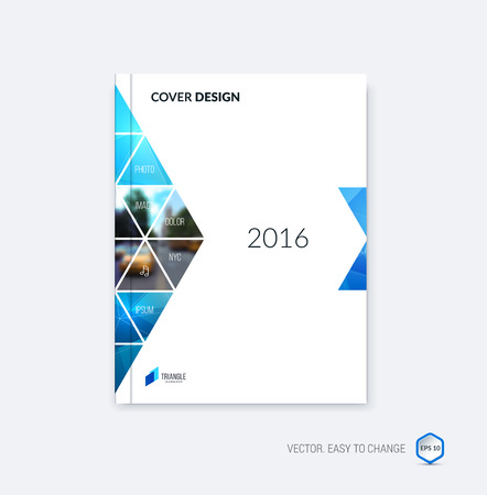 Abstract cover design, business brochure template layout, report, magazine or booklet in A4 with blue moving triangular geometric shapes on polygonal background. Vector Illustration. 向量圖像