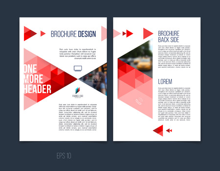 Brochure template layout, cover design annual report, magazine, flyer or booklet in A4 with red dynamic triangular geometric shapes on white background. Vector Illustration.