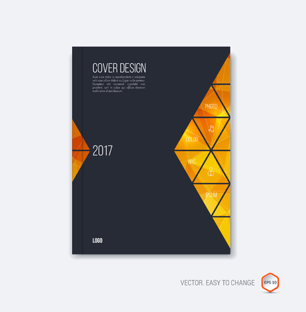 Abstract cover design, business brochure template layout, report, magazine or booklet in A4 with orange yellow black golden moving triangular geometric shapes on polygonal background. Vector Illustration. Illustration
