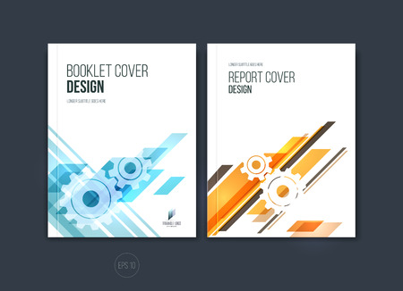 Abstract cover design, business brochure template layout, report, magazine or booklet in A4 with blue and orange dynamic diagonal rectangular geometric shapes. Vector illustration.