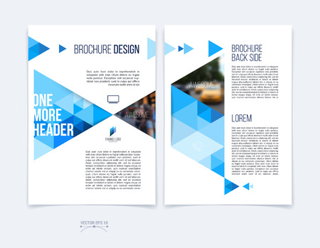 Set of Brochure template layout, cover design annual report, magazine, flyer or booklet in A4 with blue dynamic triangular geometric shapes on white background. Vector Illustration. Иллюстрация