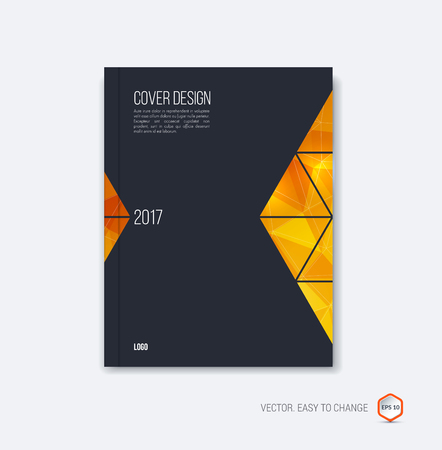 moving in: Abstract cover design, business brochure template layout, report, magazine or booklet in A4 with orange yellow black golden moving triangular geometric shapes on polygonal background. Vector Illustration. Illustration