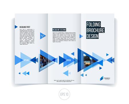 Vector abstract brochure dépliant conception, la couverture d'affaires modèle mise en page, le rapport, le magazine ou d'un livret au format A4 avec le bleu en mouvement des formes géométriques triangulaires sur fond blanc.