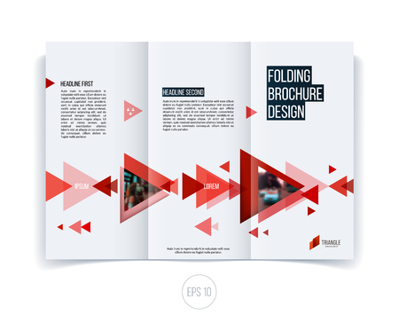 Vector abstract brochure flyer design, business cover template layout, report, magazine or booklet in A4 with red moving triangular geometric shapes on white background. Stock Vector - 54505856