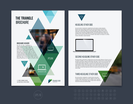 Brochure template layout, cover design annual report, magazine, flyer or booklet in A4 with blue green dynamic triangular geometric shapes on white background. Vector Illustration.