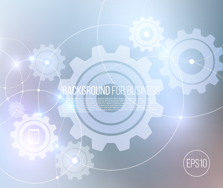 lighting effects: Vector abstract technology background with communication, future concept - rounds, circles, gears and lighting effects on blue blurred mesh - website banner.