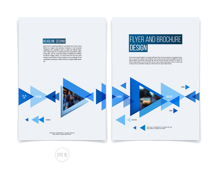 Vector abstracte brochure folder ontwerp, zakelijke dekking sjabloon lay-out, verslag, tijdschrift of boekje in A4 met blauwe bewegende driehoekige geometrische vormen op een witte achtergrond. Stock Illustratie