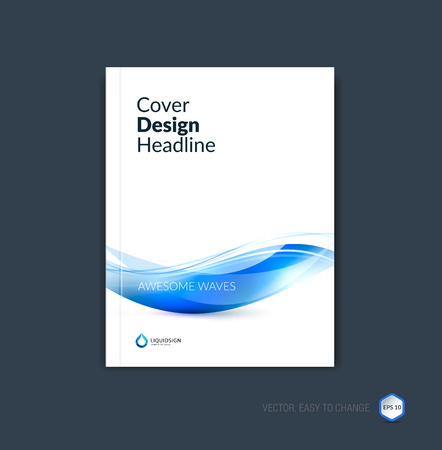 Abstract cover design, business brochure template layout, report, magazine or booklet in A4 with blue dynamic blurred waves, soft lines and shapes. Vector. Stock Vector - 54506023