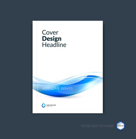 Abstract cover ontwerp, zakelijke brochure sjabloon lay-out, rapport, tijdschrift of een boekje in A4 met blauwe dynamische wazig golven, zachte lijnen en vormen. Vector.