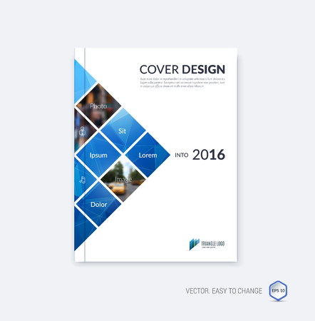 Abstract cover design, business brochure template layout, report, magazine or booklet in A4 with blue square geometric shapes on polygonal background. Vector Illustration.