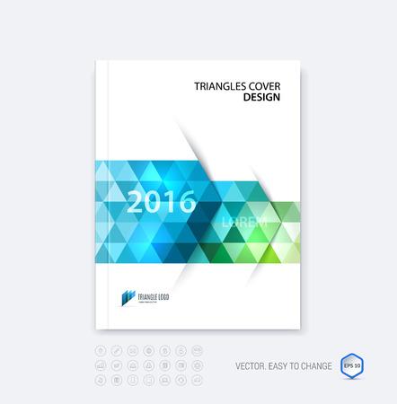 resumen de diseño de negocios folleto plantilla, informe de diseño de la portada, revista o folleto en A4 con flechas poligonales dinámicas y formas geométricas del triángulo en el fondo blanco. Vector.