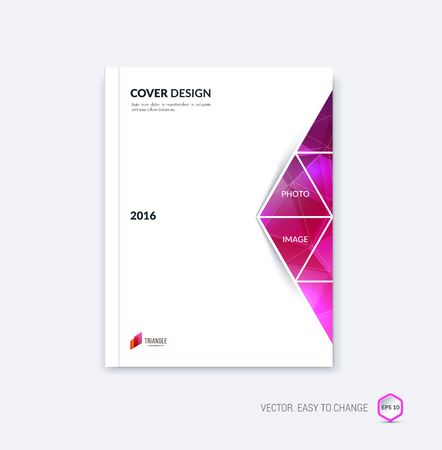 moving in: Abstract cover design, business brochure template layout, report, magazine or booklet in A4 with pink red moving triangular geometric shapes on polygonal background. Vector Illustration.