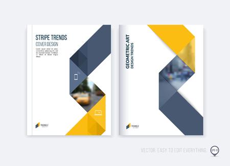 Disposition de modèle de brochure, rapport annuel de conception de couverture, magazine, dépliant ou brochure en A4 avec des formes géométriques triangulaires dynamiques jaunes gris et le ruban de rayure se pliant. Illustration vectorielle de l'entreprise.