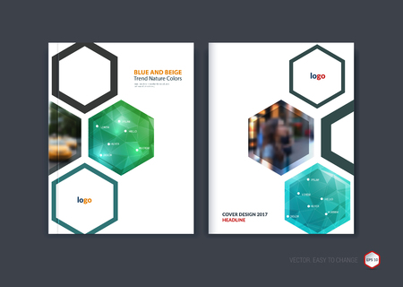 green technology: Abstract cover design, business brochure template layout, report, booklet in A4 with turquoise and bright blue green hexagonal geometric shapes on polygonal background. Creative vector Illustration. Illustration