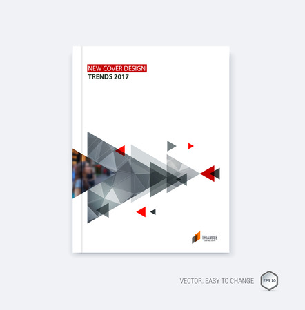 Abstract cover design, business brochure template layout, report, booklet in A4 with monochrome gray yellow diagonal triangular arrows shapes on polygonal background. Creative vector Illustration.