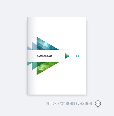 Brochure template layout, cover design, annual report, magazine, flyer or booklet in A4 with blue green triangle geometric arrow shape on polygonal background. Business vector Illustration. Stock Vector - 56342458