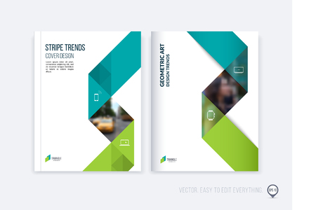 Brochure template layout; cover design annual report; magazine; flyer or booklet in A4 with blue green dynamic triangular geometric shapes and folding stripe ribbon. Business vector Illustration. Illustration