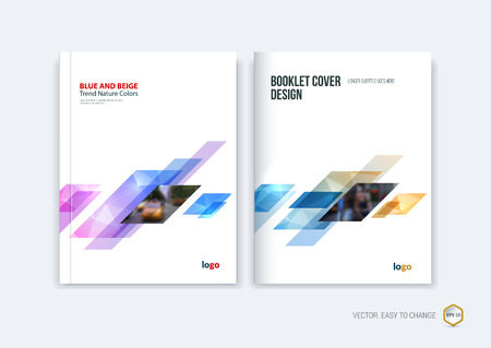 Abstract cover design, business brochure template layout, report, magazine or booklet in A4 with pink blue yellow dynamic diagonal rectangular geometric shapes on polygonal background. Vector illustration.