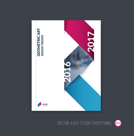 Brochure template layout; cover design annual report; magazine; flyer or booklet in A4 with blue red dynamic triangular geometric shapes and folding stripe ribbon. Business vector Illustration.