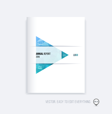 Brochure template layout, cover design, annual report, magazine, flyer or booklet in A4 with blue green triangle geometric arrow shape on polygonal background. Business vector Illustration.