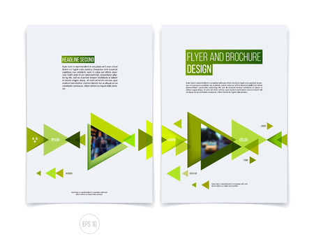 Vector abstract brochure flyer design, business cover template layout, report, magazine or booklet in A4 with eco green moving triangular geometric shapes on white background. Illustration