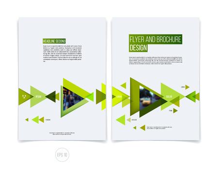 Vector abstracte brochure folder ontwerp, zakelijke dekking sjabloon lay-out, verslag, tijdschrift of boekje in A4 met eco groene bewegende driehoekige geometrische vormen op een witte achtergrond.
