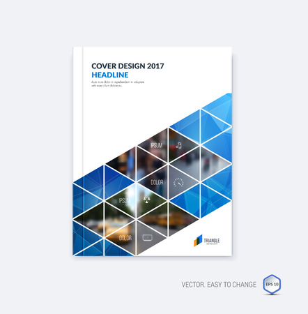 Abstract cover design, business brochure template layout, report, booklet in A4 with blue diagonal triangular geometric shapes on polygonal background. Creative vector Illustration.
