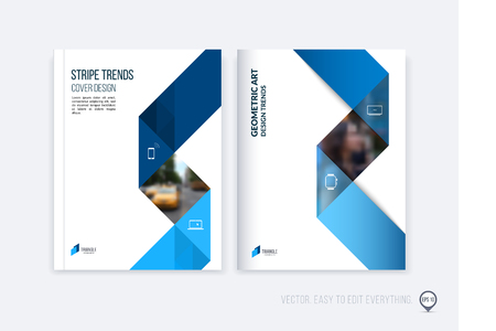 Brochure template layout; cover design annual report; magazine; flyer or booklet in A4 with blue dynamic triangular geometric shapes and folding stripe ribbon. Business vector Illustration. Stock Illustratie