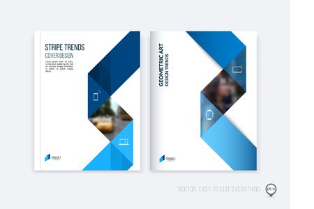 Layout di modello di brochure; Cover Design relazione annuale; rivista; volantino o un opuscolo in formato A4 con dinamiche forme geometriche triangolari blu e nastro striscia pieghevole. Affari illustrazione vettoriale. Archivio Fotografico - 56344669
