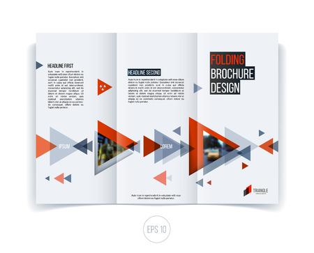 Conception de flyer de brochure abstraite de vecteur, mise en page de modèle de couverture d'entreprise, rapport, magazine ou brochure en A4 avec des formes géométriques triangulaires mobiles rouges rouges sur fond blanc. Vecteurs