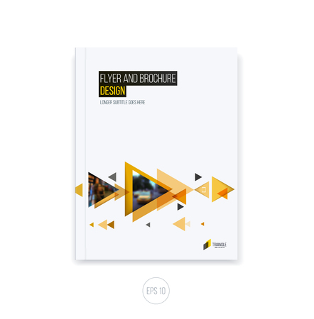 moving in: Abstract cover design, business brochure template layout, report, magazine or booklet in A4 with orange yellow moving triangular geometric shapes on white background. Vector Illustration.