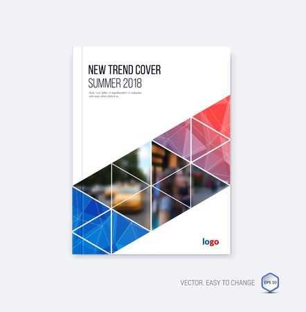 Abstract cover design, business brochure template layout, report, booklet in A4 with blue red diagonal triangular geometric shapes on polygonal background. Creative vector Illustration.