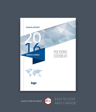 Brochure template layout, cover design annual report, magazine, flyer, leaflet in A4 with blue triangles for business, technology and science and polygonal background. Vector digital pixel mosaic.