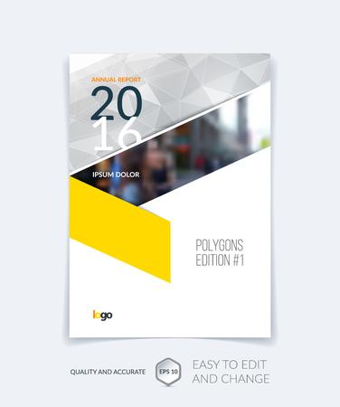 Brochure sjabloon lay-out, cover ontwerp jaarverslag, tijdschrift, flyer, folder in A4 met grijs gele driehoeken voor zaken, technologie en wetenschap en veelhoekige achtergrond. Vector.