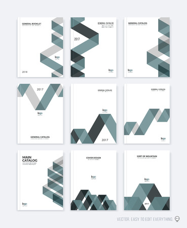 Set of brochure template layout, cover design annual report, magazine, flyer or booklet in A4 with blue grey dynamic triangular geometric shapes and folding stripe ribbon. Business vector flat style.
