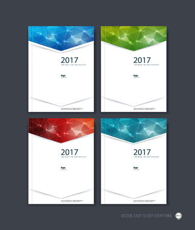 report cover: Set of brochure template layout, cover design, annual report, magazine, flyer or booklet in A4 with blue red triangle geometric arrow shape on polygonal background. Business vector.