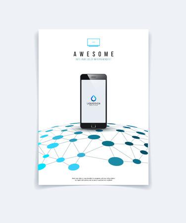 Brochure ontwerp, flyer, folder, met blauwe abstracte molecule structuur, genetische en chemische verbindingen. Bedek template lay-out met de wetenschap en verbinding concept of social network. Stock Illustratie