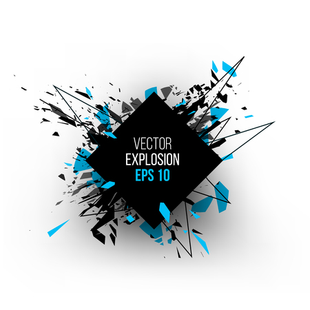 Abstract explosion cloud of black glass pieces on white background for design template with circle. Grunge vector illustration. Vettoriali