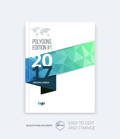 leaflet design: Brochure template layout, cover design annual report, magazine, flyer, leaflet in A4 with blue triangles for business, technology and science and polygonal background. Vector digital pixel mosaic.