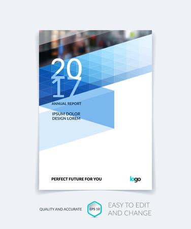 Brochure template lay-out, hoesontwerp jaarverslag, tijdschrift, flyer of boekje in A4 met blauwe driehoekjes voor het bedrijfsleven, technologie en wetenschap. Vector ontwerp met digitale pixelmozaïek.
